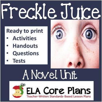 Freckle Juice Novel Unit ~ Activities, Handouts, Tests!