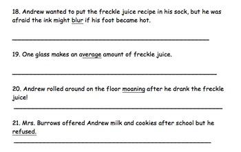Freckle Juice Test- Judy Blume