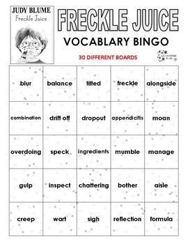 Freckle Juice Vocabulary Bingo