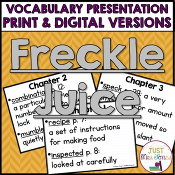 Freckle Juice Vocabulary Presentation