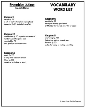 Freckle Juice Vocabulary Word List