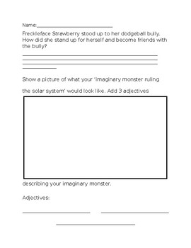 Freckleface Strawberry and the Dodgeball Bully Worksheet