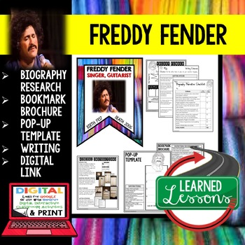 Freddy Fender Biography Research, Bookmark Brochure, Pop-Up, Writing