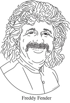 Freddy Fender Realistic Clip Art, Coloring Page, and Poster