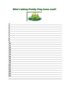 Freddy Frog Take Home List!