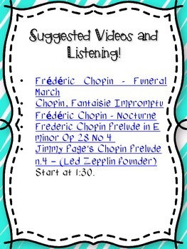 Frederic Chopin Composer of the Month Bulletin Board Set {Youtube Links}