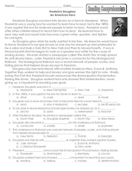 Frederick Douglass Packet: Reading Comprehension, Study Guide & Test