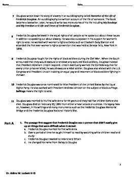 Frederick Douglas Rigorous PARCC like Reading Assessment