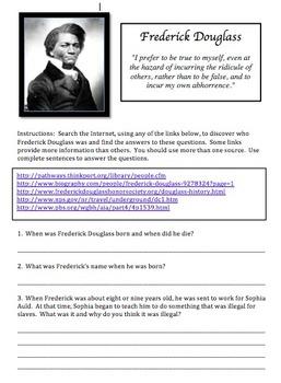 Frederick Douglas Web Scavenger Hunt