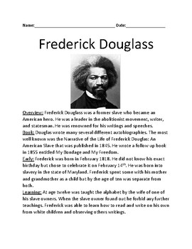 Frederick Douglas - life history lesson facts information review questions