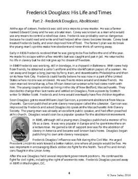 Frederick Douglass Biography Informational Texts, Activities Grades 4, 5, 6
