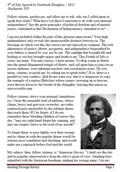 Frederick Douglass 4th of July Speech: Primary Document