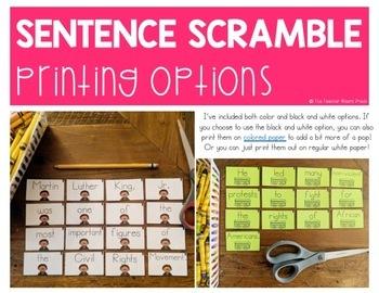 Frederick Douglass Activity | Building Sentences | Scrambled Sentences