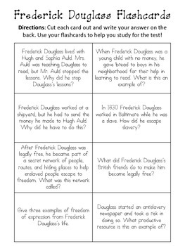 Frederick Douglass Assessment Packet: Study Guide, Vocabulary, Test, and Key