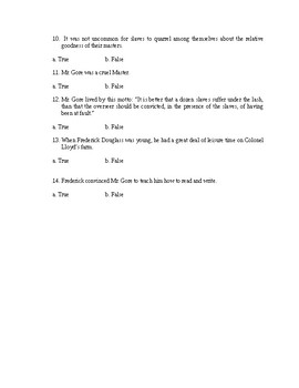 Frederick Douglass (Autobiography) quiz chapters 1-6
