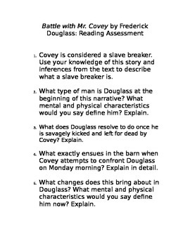 """Frederick Douglass: """"Battle with Mr. Covey"""" Assessment"""