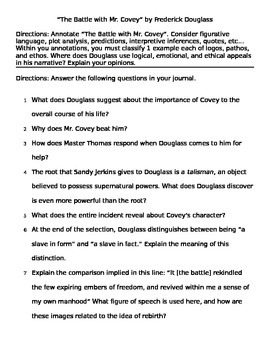 "Frederick Douglass: ""Battle with Mr. Covey"" Questions"