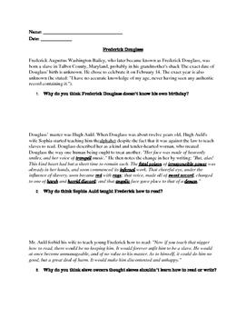 Frederick Douglass Bio Close Reading