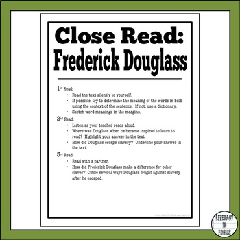 Frederick Douglass Close Read (Vocabulary, Comprehension, & Assessment!)
