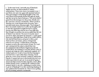 """Frederick Douglass """"Learning to Read and Write"""" Annotation Grid and Questions"""