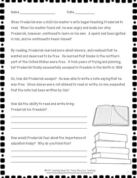 Frederick Douglass Lesson and Pop Up Book