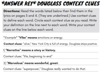 Narrative of the Life of Frederick Douglass Reading Comprehension & Song Part 1