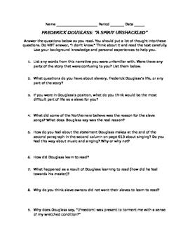 "Frederick Douglass Reading Guide for ""A Spirit Unshackled"""