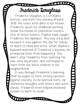 Frederick Douglass Reading Passage and Comprehension Questions