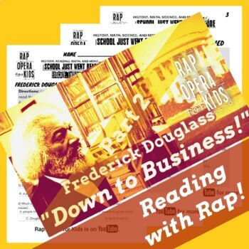 Frederick Douglass Sequence of Events Reading Passage, Worksheets & Rap Song #2