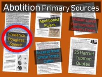 "Frederick Douglass Speech ""Hypocrisy of American Slavery"" handout w guiding Qs"