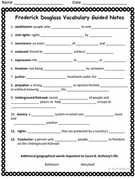 Frederick Douglass Spelling/Vocab GPS Social Studies Historical Figure