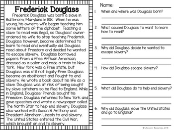 Frederick Douglass Task Cards, Board Game, Posters, and Printables