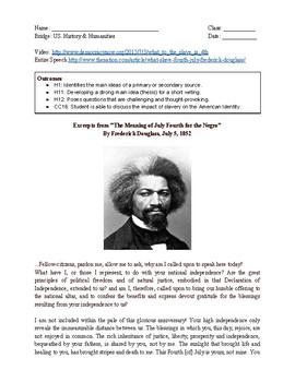 Frederick Douglass: The Meaning of the 4th of July for the Negro Worksheet