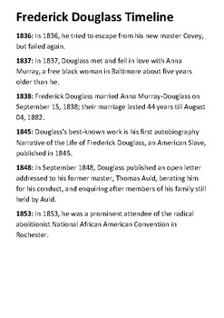 Frederick Douglass Timeline and Quotes