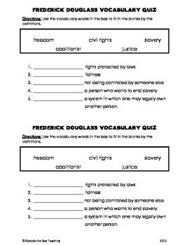 Frederick Douglass Vocabulary Quiz