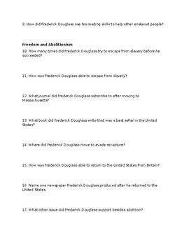 Frederick Douglass Webquest