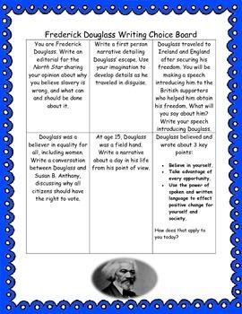 Frederick Douglass Writing Choice Board