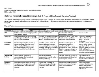 Frederick Douglass: Personal Narrative Assignment Sheet & Rubric
