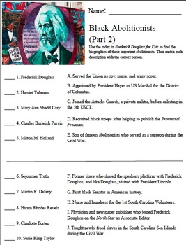 Frederick Douglass For Kids Worksheets: frederick douglass for kids black abolitionists worksheet part 2,