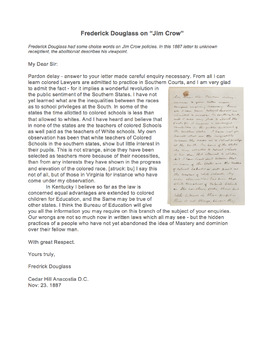 """Frederick Douglass on Abolition Primary Source """"Letter to Unknown Recipient"""""""