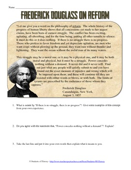 Frederick Douglass on Reform Primary Source
