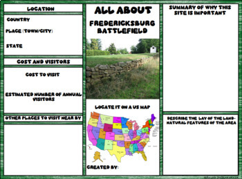 Fredericksburg, Va. Battlefield Digital Research Brochure in Google Slides™