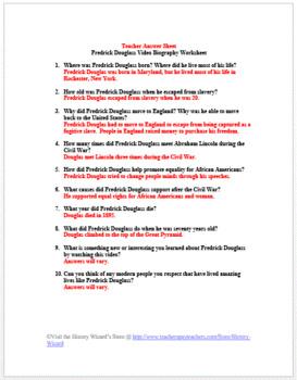 Fredrick Douglas 3 Minutes Video Biography Worksheet