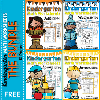 Free Kindergarten Math Worksheets - All Seasons Bundle by The ...