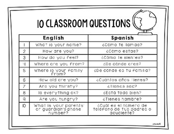 Free 10 Questions & 13 Classroom Commands for ESL Teachers English-Spanish