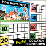 Free 100 Days of School Countdown Free Hipster Animals Decor
