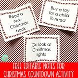 Free Christmas Countdown Box Editable Notes