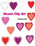 Free 12 Hearts Clip Art
