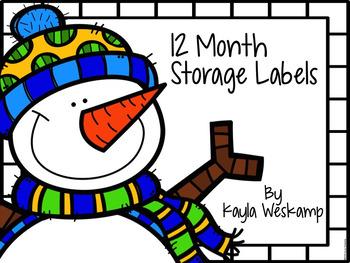 Free 12 Month Storage Bin Labels