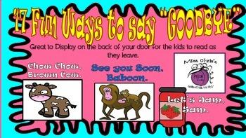 """Free~~ 17 FUN / SILLY Ways to say """"Goodbye""""  Door or Classroom Display"""
